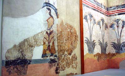 Fresco of ladies and papyrus