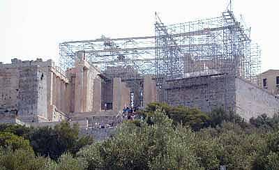 Propylaea with scaffolding for restoration work