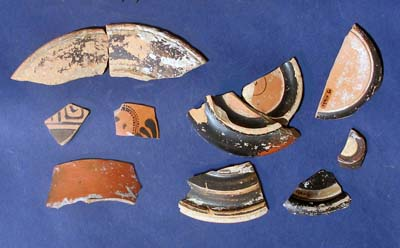 Sherds of fine Athenian pottery discovered at the site
